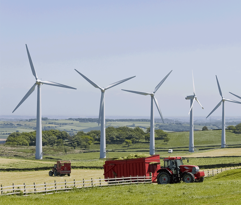 Wind turbines and farm machinery