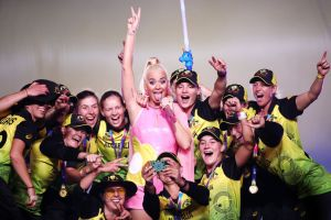 Cricket team with Katy Perry