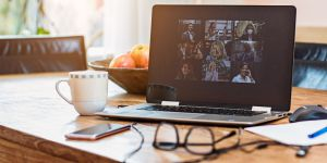 Laptop with online conferencing calls