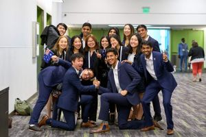 The Enactus Melbourne team after their first round just prior to their first round presentation