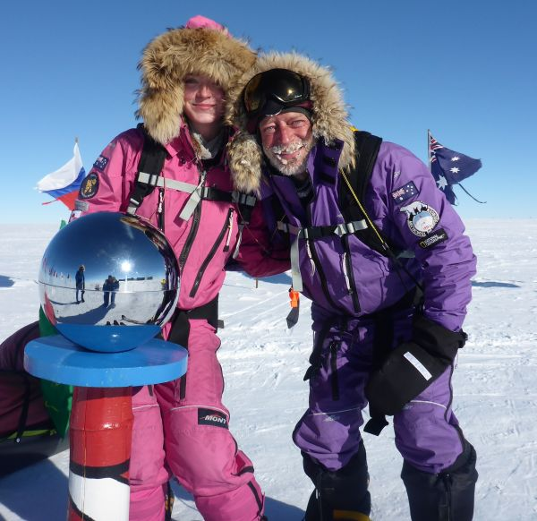 Paul on completion of a new route from the Coast of Antarctica to the South Pole with daughter, Jade, in January 2018